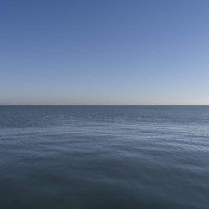 solid blue Contemporary art photography of Lake Michigan, Great Lakes, from Chicago by artist Lincoln Schatz