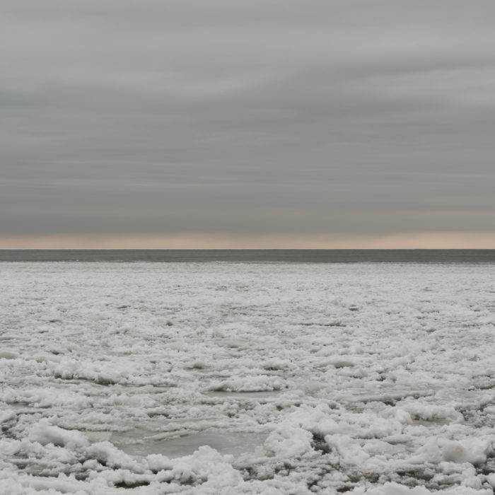 pancake ice Contemporary art photograph of Lake Michigan, the inland sea, from Chicago by artist Lincoln Schatz