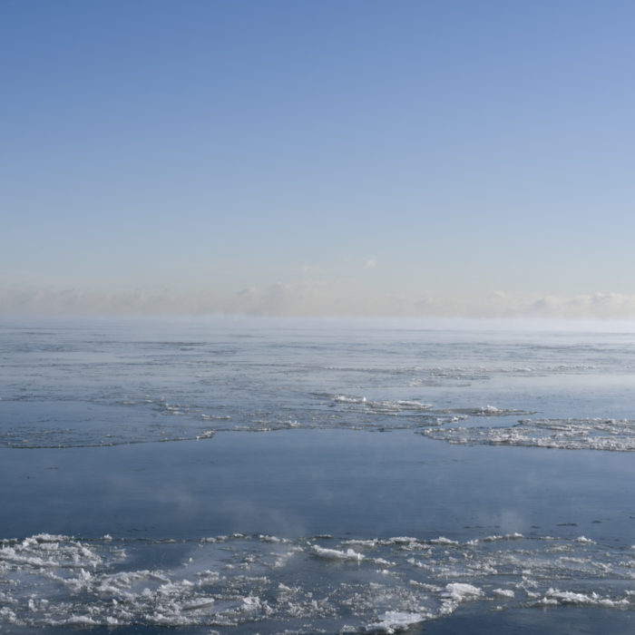 sub zero day Contemporary art photograph of Lake Michigan, the inland sea, from Chicago by artist Lincoln Schatz