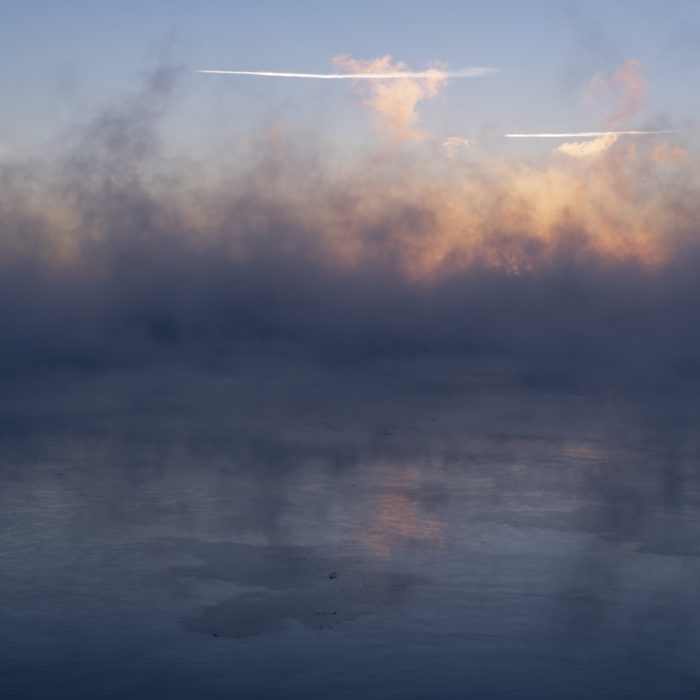 Early subzero morning Contemporary art photograph of Lake Michigan, the inland sea, from Chicago by artist Lincoln Schatz
