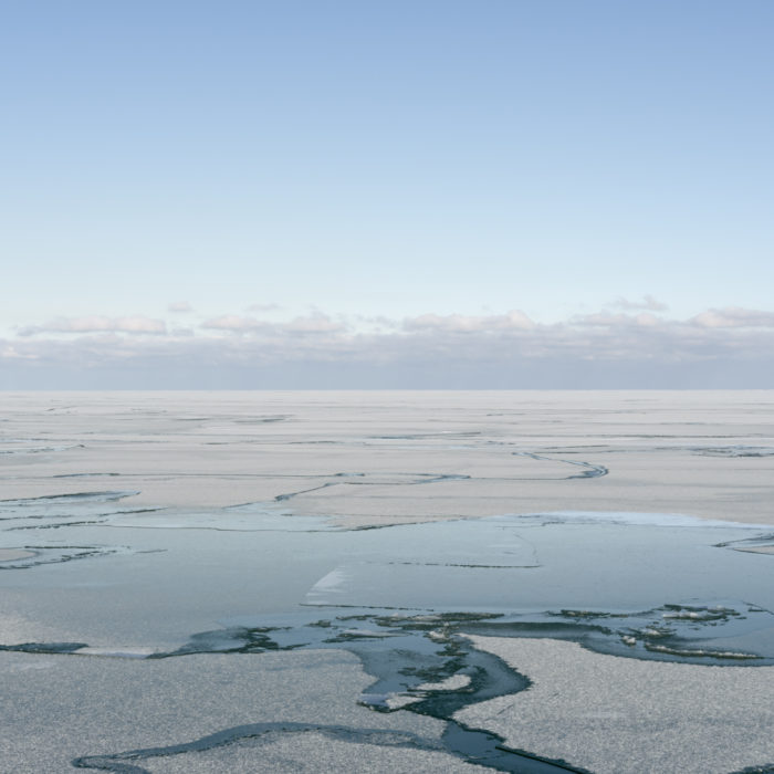 Ice geometries Contemporary art photograph of Lake Michigan, the inland sea, from Chicago by artist Lincoln Schatz