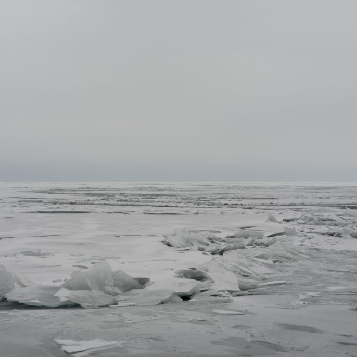 snow ice tundra deep frozen cold gray winter Contemporary art photograph of Lake Michigan, the inland sea, from Chicago by artist Lincoln Schatz