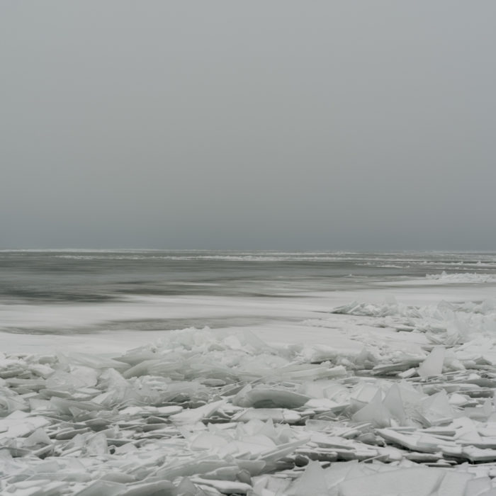 deep frozen cold gray winter Contemporary art photograph of Lake Michigan, the inland sea, from Chicago by artist Lincoln Schatz