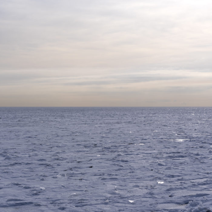 Frozen lake tundra Contemporary art photograph of Lake Michigan, the inland sea, from Chicago by artist Lincoln Schatz