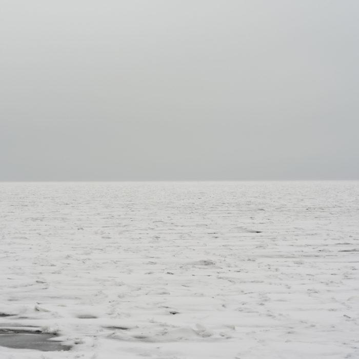 monochromatic winter Contemporary art photograph of Lake Michigan from Chicago by artist Lincoln Schatz @lincolnschatz.com