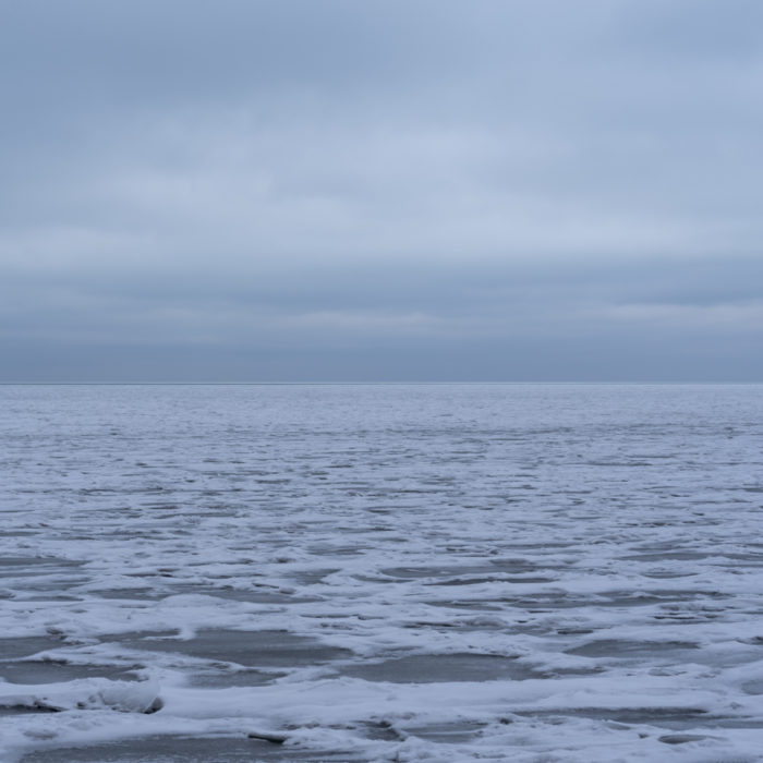 dusk ice flow Contemporary art photograph of Lake Michigan from Chicago by artist Lincoln Schatz @lincolnschatz.com