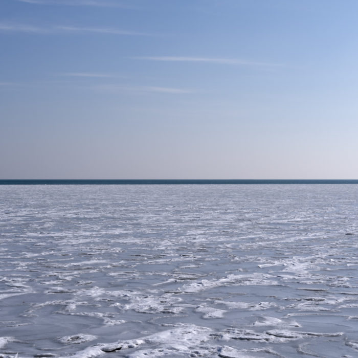 ice and open water Contemporary art photograph of Lake Michigan from Chicago by artist Lincoln Schatz @lincolnschatz.com