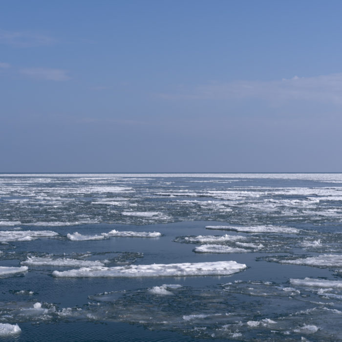 pancake ice Contemporary art photograph of Lake Michigan from Chicago by artist Lincoln Schatz @lincolnschatz.com