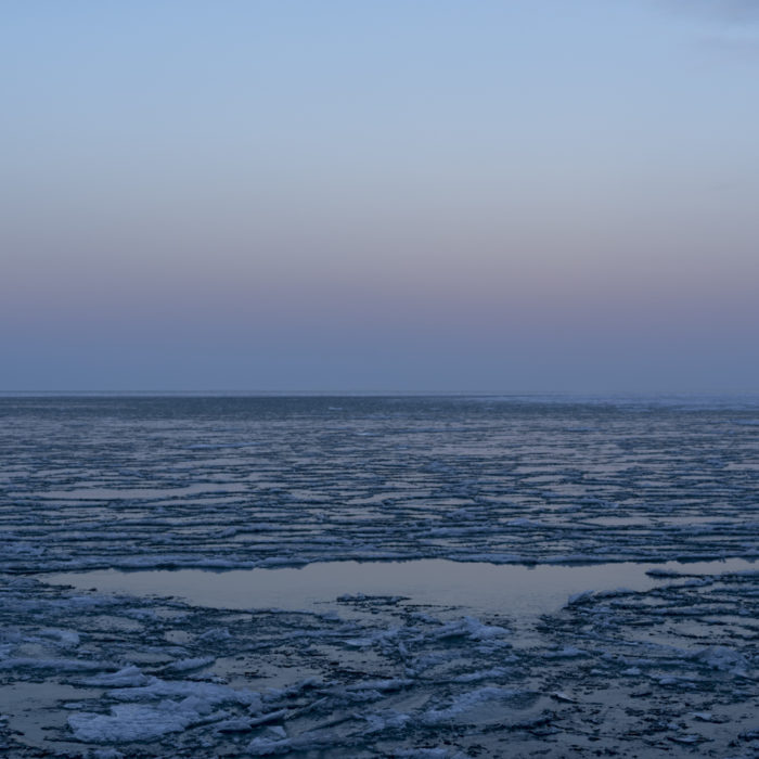 dusk ice formation Contemporary art photograph of Lake Michigan from Chicago by artist Lincoln Schatz @lincolnschatz.com