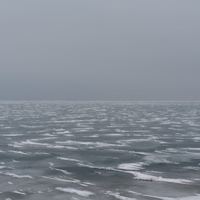 snow patterns on ice Contemporary art photograph of Lake Michigan from Chicago by artist Lincoln Schatz @lincolnschatz.com