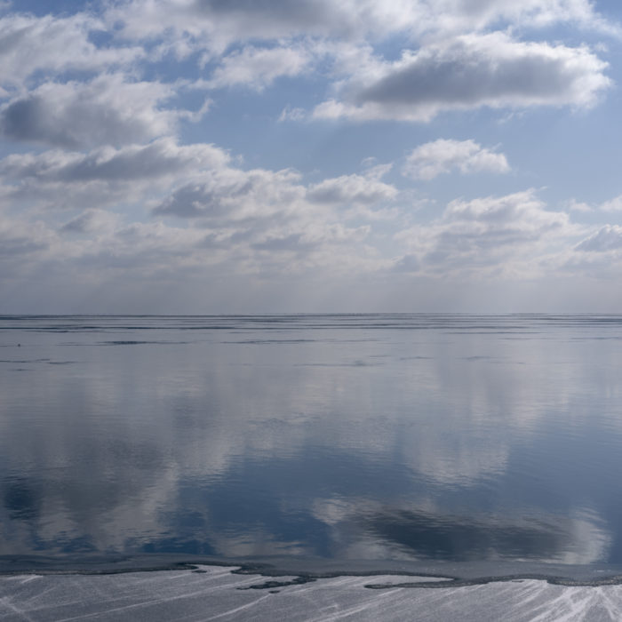 ice and reflections Contemporary art photograph of Lake Michigan from Chicago by artist Lincoln Schatz @lincolnschatz.com