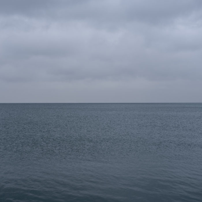 flat blue gray Contemporary art photograph of Lake Michigan from Chicago by artist Lincoln Schatz @lincolnschatz.com