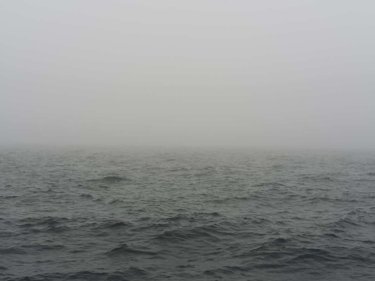 foggy and gray green day on Lake Michigan