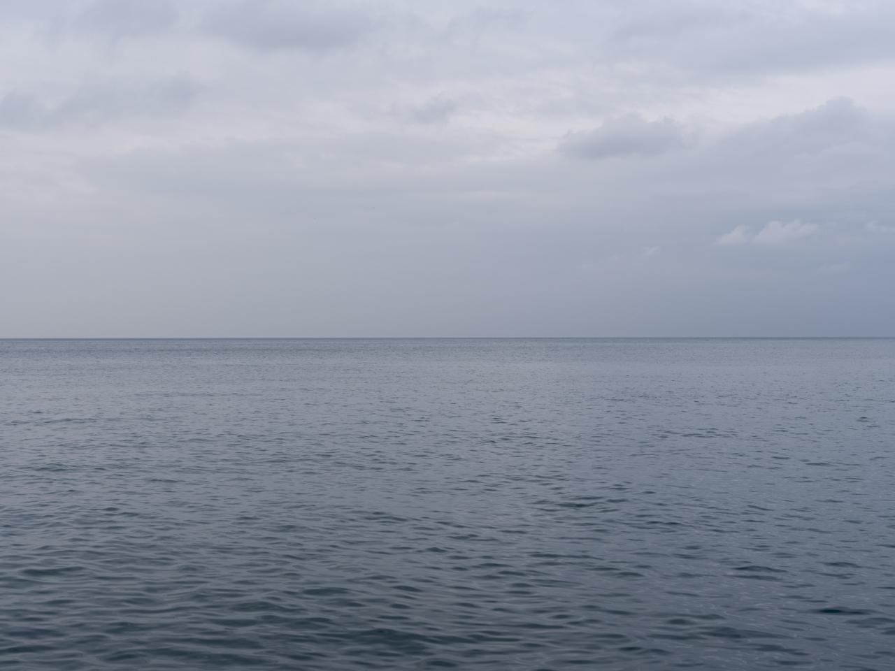 Lake Michigan on a gray and still day