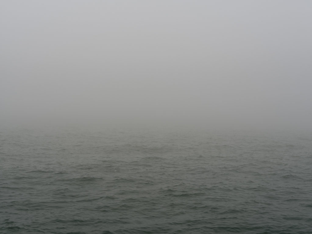 dense fog and choppy water Contemporary art photography of Lake Michigan, Great Lakes, from Chicago by artist Lincoln Schatz
